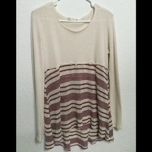 Altar'd State Burgundy and Cream High Low Sweater